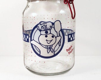 Vintage Pilsbury Glass Canister- Pilsbury Doughboy Jar