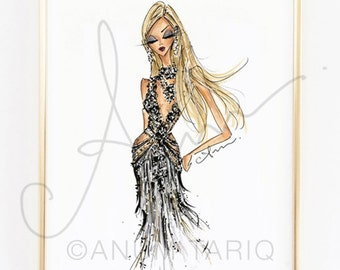 "Fashion Illustration Print, Met Gala Marchesa, 8x10"""