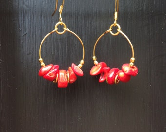 Earrings coral and gold