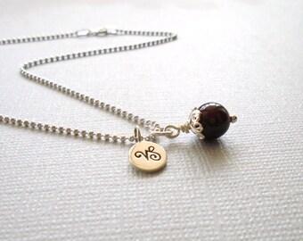 Capricorn Necklace, Capricorn Zodiac Necklace, Sterling Silver, Capricorn Jewelry, Capricorn Jewellery, Red Garnet, Capricorn Zodiac Jewelry