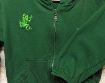 embroidered with a tree frog, long-sleeve, 100% cotton, hooded, green sweatshirt, size 6 (youths)