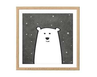Polar bear nursery print polar bear print polar bear nursery monochrome nursery decor black and white nursery print monochrome nursery print