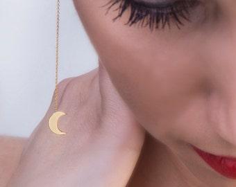 Solid gold earrings,Chain moon earrings, Crescent earrings,Every day jewelry, Minimalistic jewelry, Geometric earrings