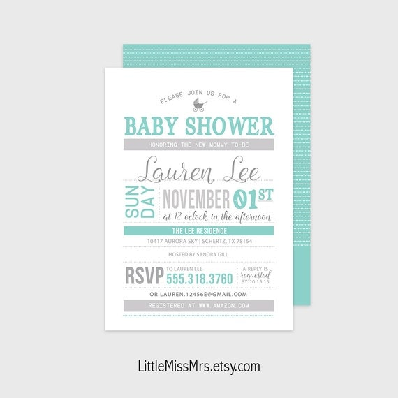 Custom Baby Shower invitation - double-sided/bring a book theme - available in 6 colors