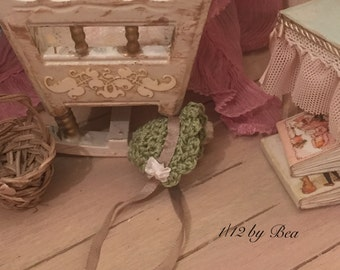 1/12 baby green hat - miniature dolls house - hand made - shabby chic style