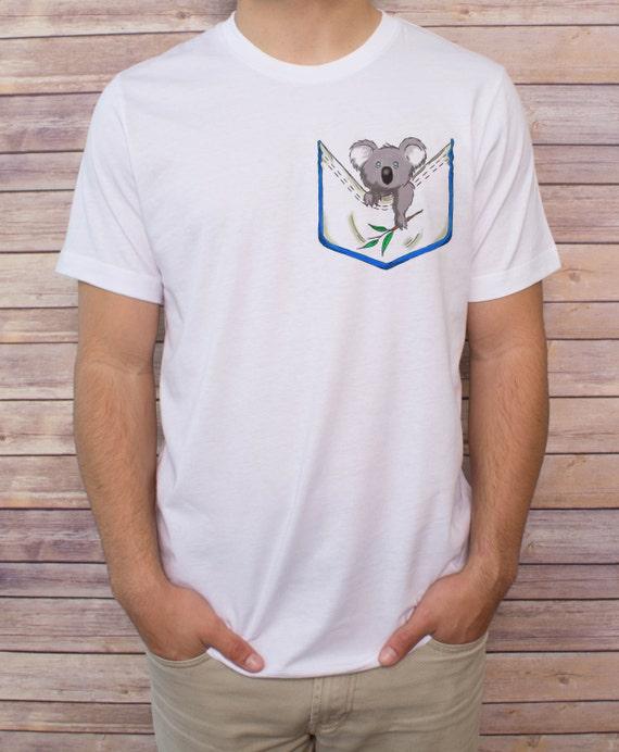 Men 39 s koala pocket t shirt v neck tank top by beespockettees for Men s v neck pocket tee shirts