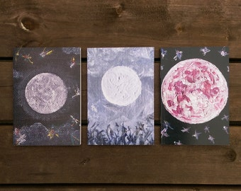 Set of 3 Moon Notebooks, Recycled Paper A6 Blank Notebooks with Three Designs Blank Inside. Pink, Blue, Black, A6 Notebook, Luna