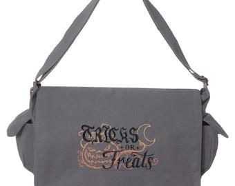 Tricks & Treats - Tricks or Treats Embroidered Canvas Cotton Messenger Bag
