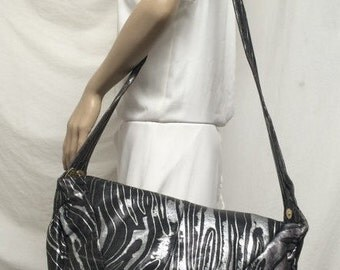 Viva of California, large leather bag,purse, black, silver, shoulder bag