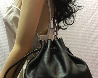 DKNY Leather Purse, Black Leather, Shoulder Bag, Cinch Bag