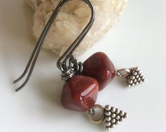 Russet Glass Earrings / Lampwork Glass Earrings / Sterling Silver Earrings / Earth Tones /  Oxidized Earrings / Crystal Shaped Glass
