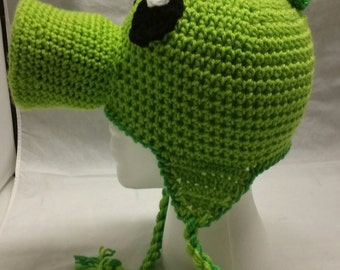 Green Peashooter Pea Shooter Crochet Hat Beanie Stocking Cap with Earflaps