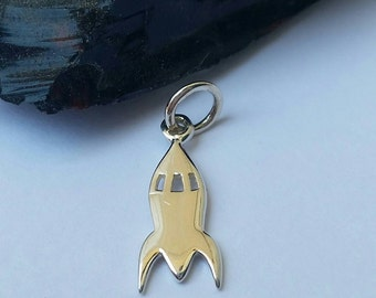 Sterling Silver Rocket Ship Charm, Rocket Charm, Space Charm, Out of This World, Silver Rocket Charm,Space Charm Bracelet,Rocket Space Charm