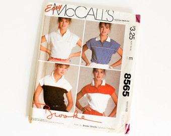 SIZE 14 16 Medium MCCALLS 8565 WOMEN'S Brooke Shields Sewing Pattern 1980s 1983 Vintage Polo Stretch Knit Shirt Collar Misses Women Transfer