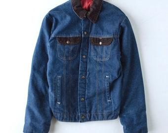 CLEARANCE: Vintage Denim Work Jacket -Key Imperial Quilted Lining Corduroy Chore Coat - Men's Medium