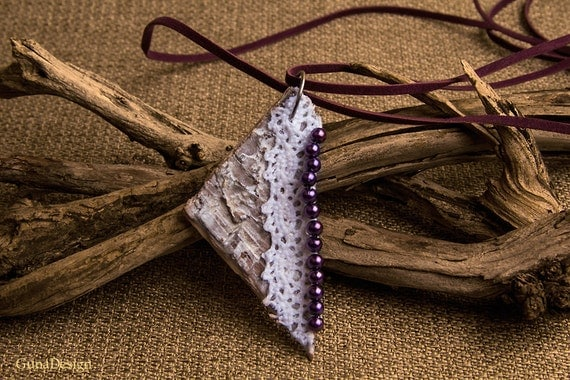 Necklace with White Washed Birch Bark Pendant with Lace and Beads