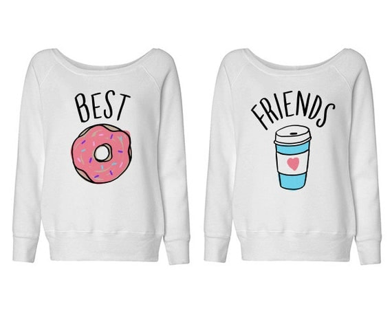 best friends donut and coffee duo wideneck sweater shirt for. Black Bedroom Furniture Sets. Home Design Ideas