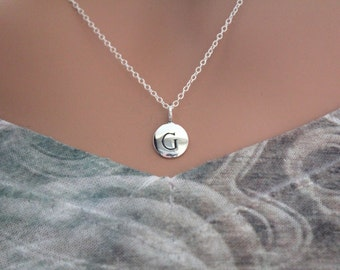 Sterling Silver Simple G Initial Necklace, Silver Stamped G Necklace, Stamped G Initial Necklace, Small G Initial Necklace, G Initial Charm