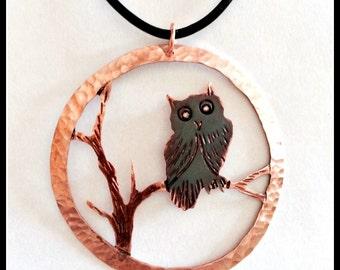 owl pendant, owl necklace, copper owl jewelry, copper owl necklace, statement necklace, woodland jewelry, Canadian artist, wearable owl art