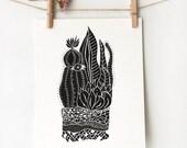 Cactus Wall Art, Botanical Illustration Prints, Cactus Print, Boho Apartment, 8x10 Wall Art, Modern Art Prints, Terrarium 1, Item #001