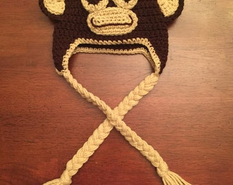 Crochet Monkey Hat: Made to Order (choose your size)