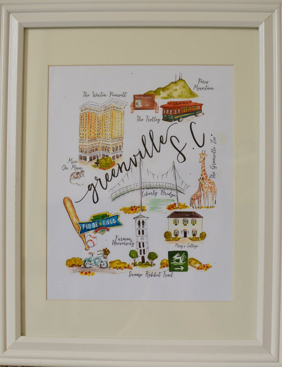 Greenville Sc Illustration Print Painting Art Zeppy Io