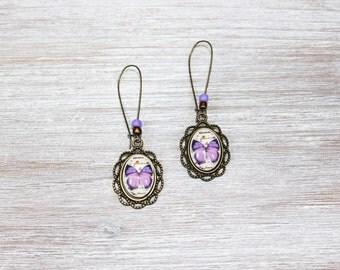 Purple Butterfly Glass Earrings