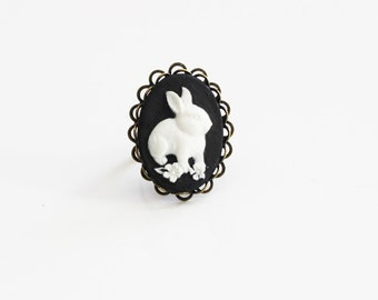 White Bunny Black Cameo Ring