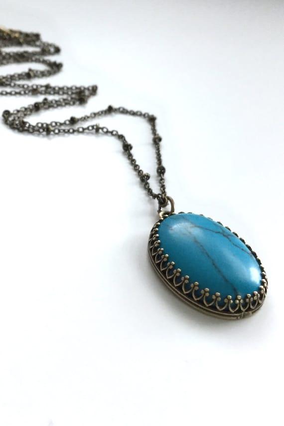 large turquoise necklace aqua blue gemstone by gemsbykelley