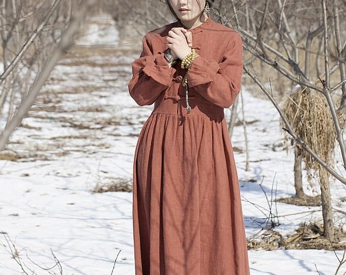 Linen Dress - Dress fall/winter - Long dress classic - Round Neck - Long sleeves dress - Made to order