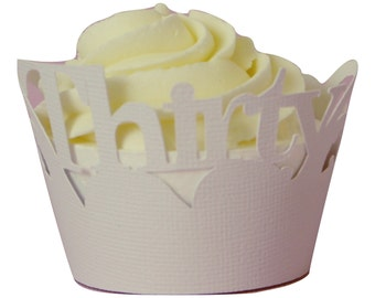 White Thirty Cupcake Wrappers, Set of 12, Birthday, White Texture, Cupcake Decor, Handcrafted Party Decor, Party Supplies
