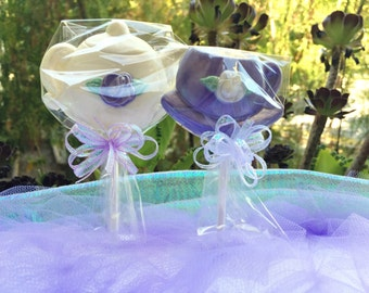 Custom Purple Party Favors Teacup and Teapot Chocolate Lollipops for Bridal Shower, Tea Party, Mother's Day Gift, Kid's Birthday Party