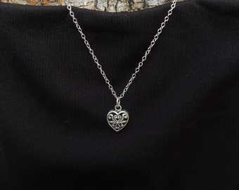 SUPER SALE! Last One! Silver Heart Necklace Sterling Silver Filigree Heart Charm Necklace Valentine Gift Girlfriend Gift