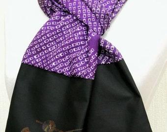Men's Scarf / Handmade Silk Scarf / Japanese Vintage Silk Kimono Fabric Scarf / 032802