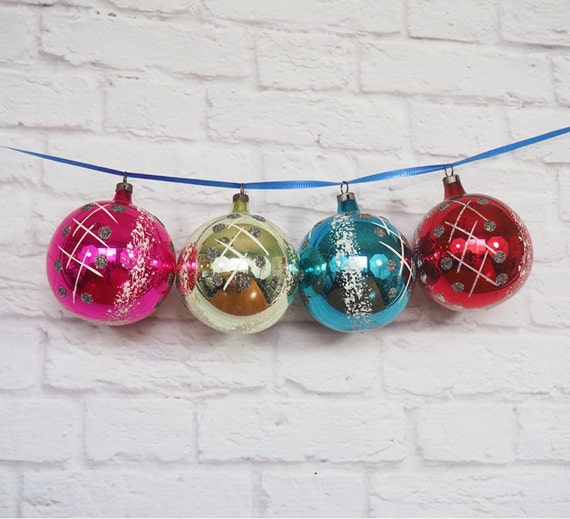 Four Hand Painted Czech Glass Ornaments / by ...