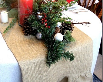 Christmas Runner - Burlap Runner with Ruffle - Christmas Table Runner - Runner - Rustic Tableware - Christmas Tableware - Thanksgiving Table