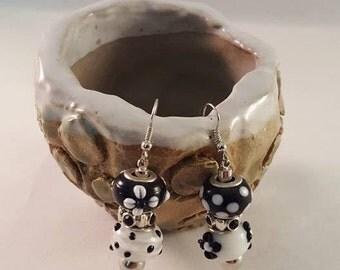 Black -N- White Polka Dot Charm earrings