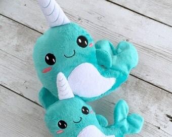 Narwahl plush, stuffed narwahl, narwahl toy