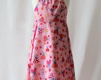 SALE Dress for 3-4 Years, Girl's Pink Dress, Ladybug Dress, Cotton Dress, Party Dress, Halterneck Dress, Summer Dress