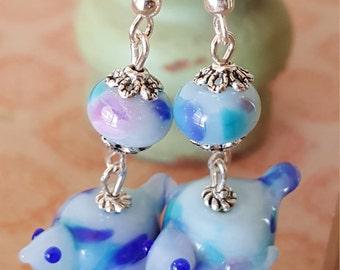cute little blue speckled glass Lampwork bird earrings....handcrafted 2 glass bird beads with 925 hook