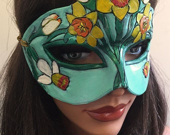 Lady of March Aquamarine and Daffodil Leather Mask - Limited Edition 1 of 10 Floral Flower Art Nouveau Mardi Gras Masquerade