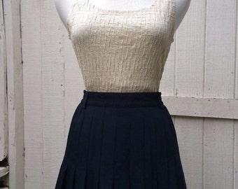 Nautical 60s Pleated Tennis Skirt Navy Blue Vintage Retro Sport
