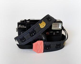 Thin camera strap, 1'' wide,  cat camera strap, SLR DSLR camera strap, mirrorless camera strap