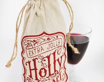 Christmas Wine Bag - Wine Gift - Holiday Wine Bag -Christmas Gift Bag - Embroidered Gift Bag - Wine Bottle Bag - Gifts under 20 - Liquor Bag