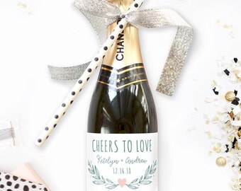 Wedding Favor Mini Champagne Labels - Cheers to Love Rustic Wedding Wine - Engagment Party Favor - Custom Sticker - Wedding Favor