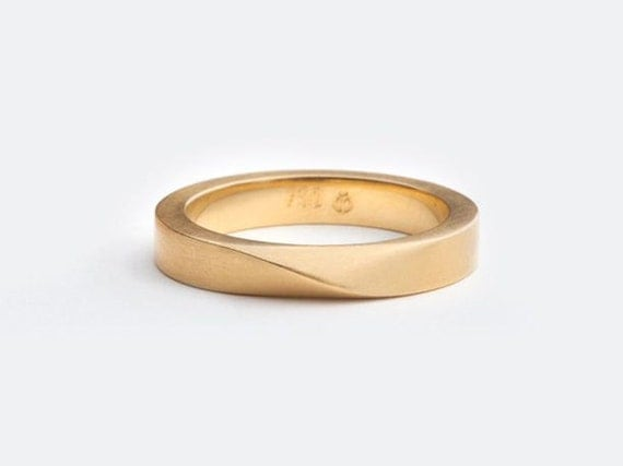 man wedding band twisted gold ring male wedding ring mobius mens wedding - Male Wedding Ring