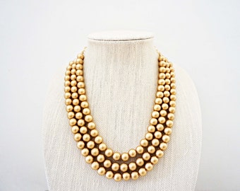 Matte Gold Beaded Necklace