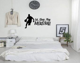 Wall Decal Quote Eat Sleep Play Basketball Wall Decal Home Decor (GD25)