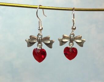 Heart Earrings~Swarovski Red Crystal Heart & Bow Earrings-Valentine Day Earrings-Swarovski heart earrings-Sweetheart Earring-Valentines