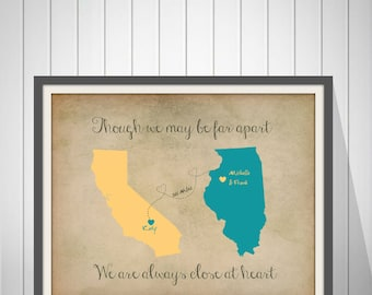 Birthday Gift for Grandma Gift for Grandparents Long Distance Map Print Mothers Day Gift Best Friend Long Distance Present  - 49377